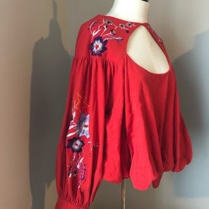 Free People Red Blouse Floral embroidery
